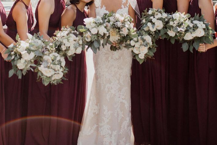 Burgundy Bridesmaid Dresses Rustic Chez Wedding Venue