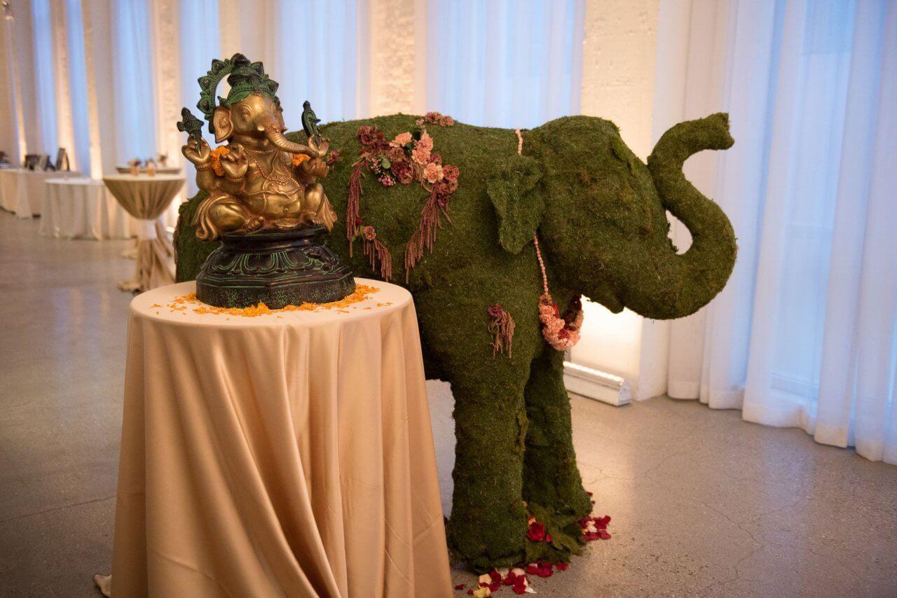 Indian Weddding Elephant Topiary Chez Chicago Wedding Venue
