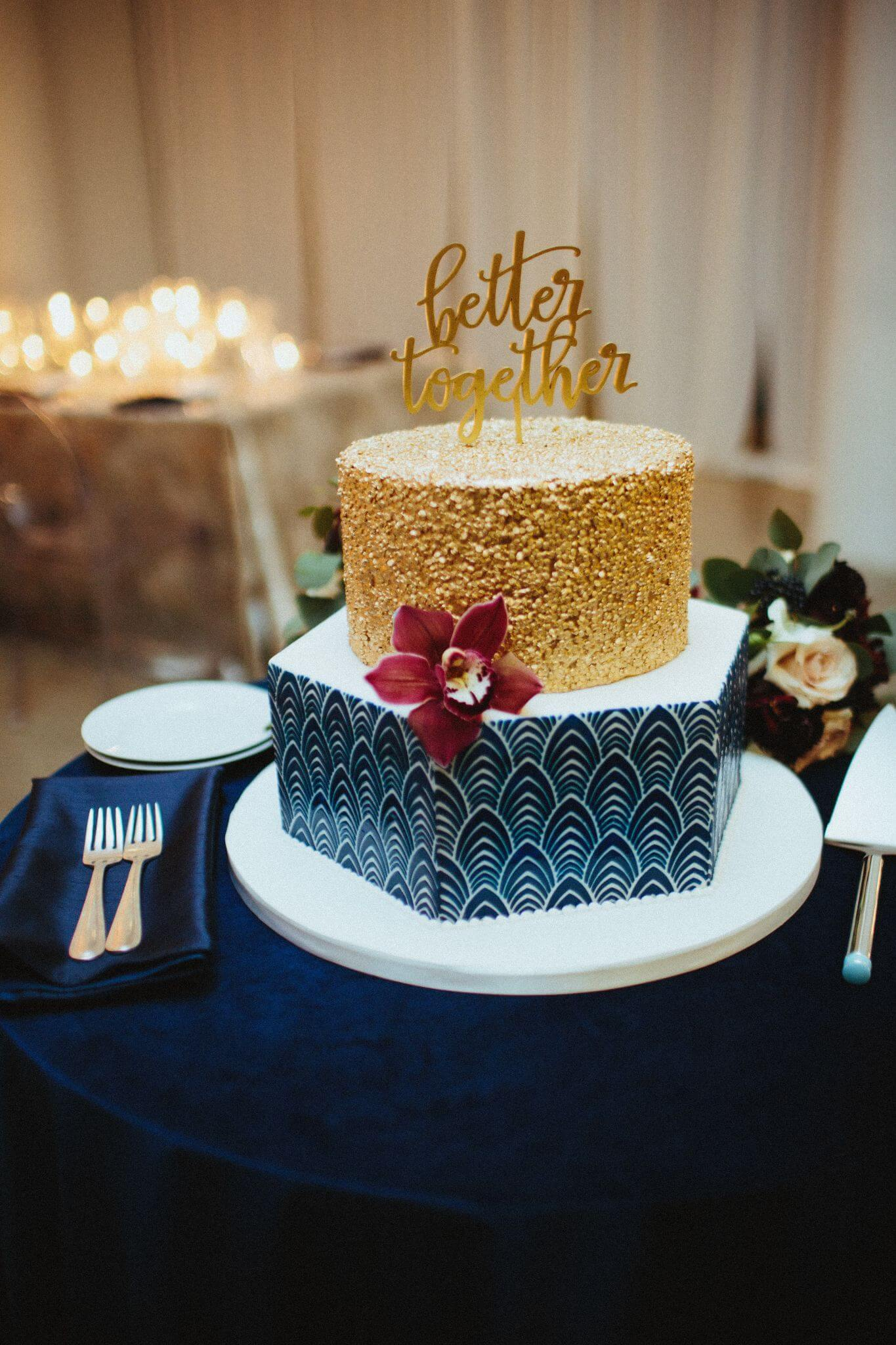 Wedding Cakes Blue And Gold Chez Chicago Wedding Venue