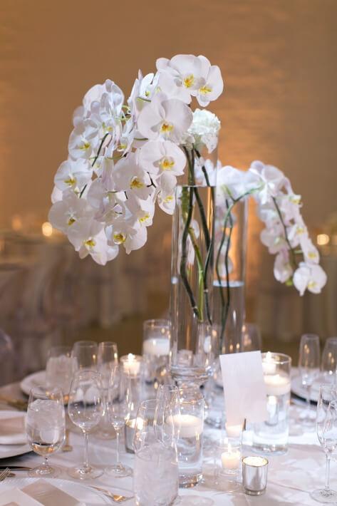 White Orchid Wedding Centerpieces Chez Chicago Wedding Venue
